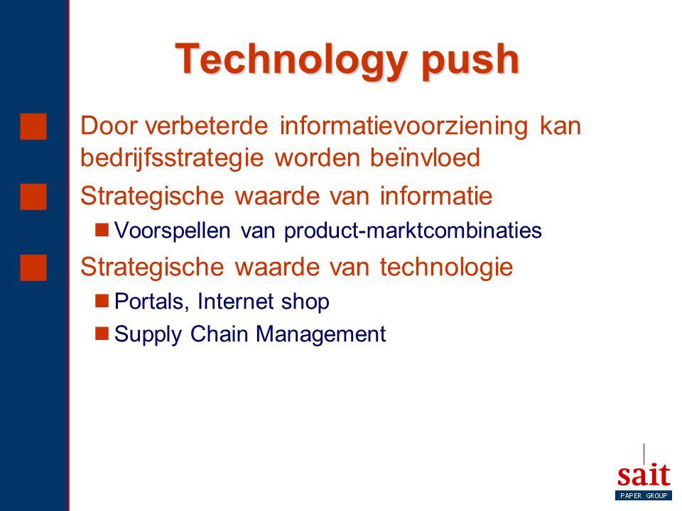 Technology push  Door verbeterde informatievoorziening kan bedrijfsstrategie worden beïnvloed  Strategische waarde van informatie Voorspellen van pr