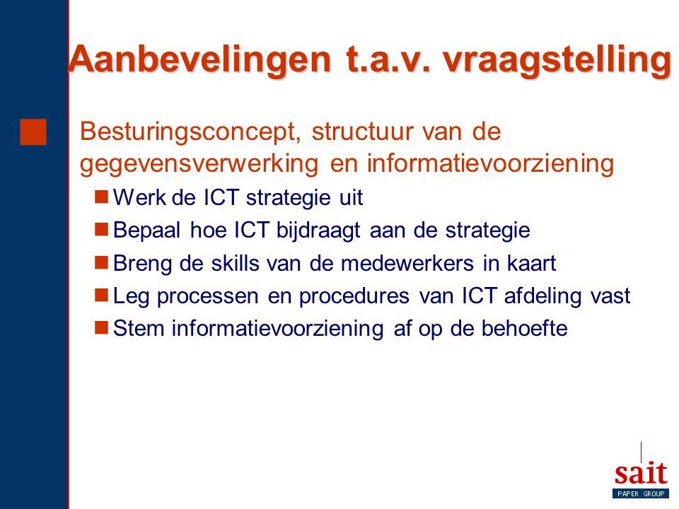 Aanbevelingen t.a.v. vraagstelling  Besturingsconcept, structuur van de gegevensverwerking en informatievoorziening Werk de ICT strategie uit Bepaal