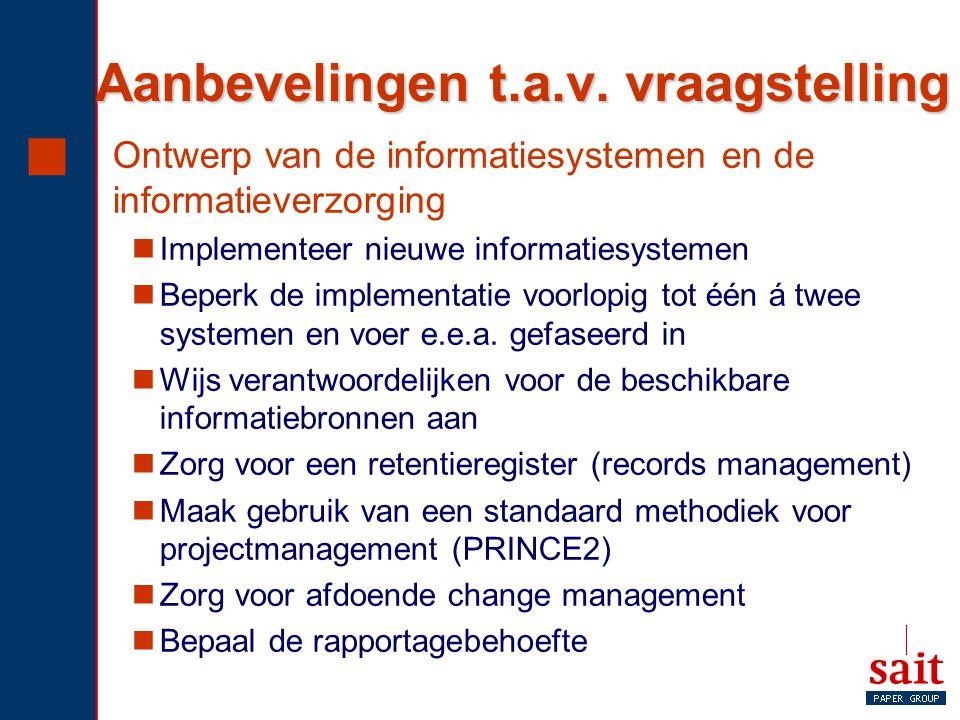 Aanbevelingen t.a.v. vraagstelling  Ontwerp van de informatiesystemen en de informatieverzorging Implementeer nieuwe informatiesystemen Beperk de imp