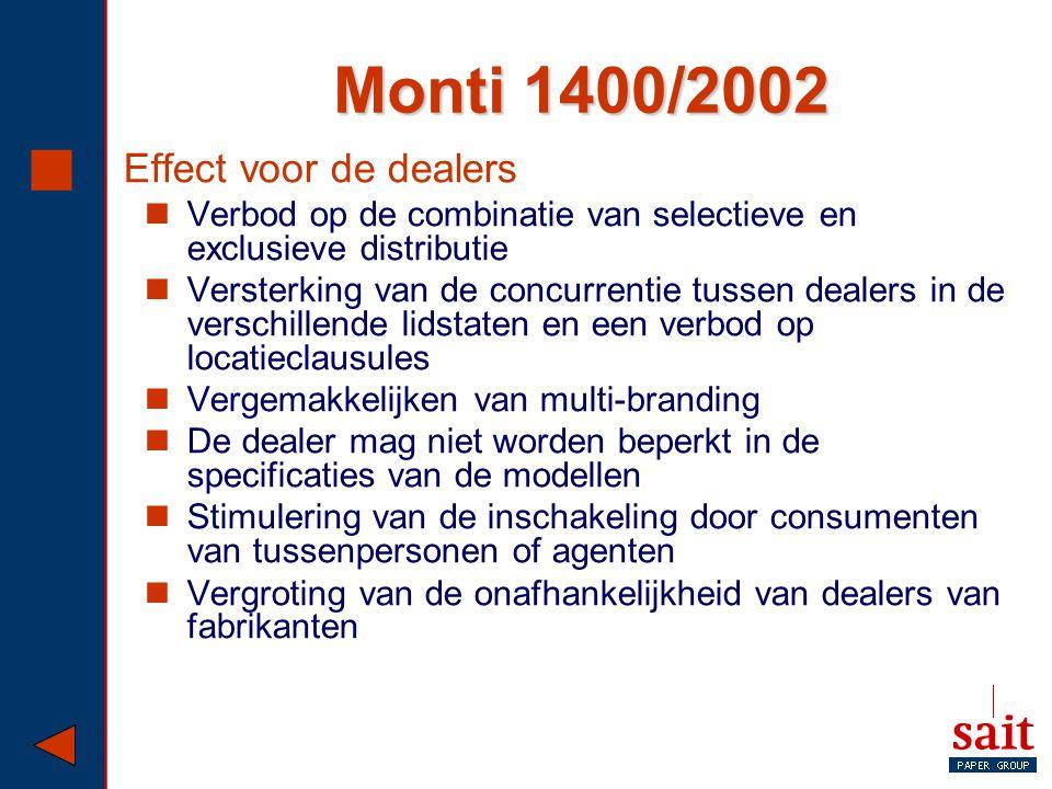Monti 1400/2002  Effect voor de dealers Verbod op de combinatie van selectieve en exclusieve distributie Versterking van de concurrentie tussen deale