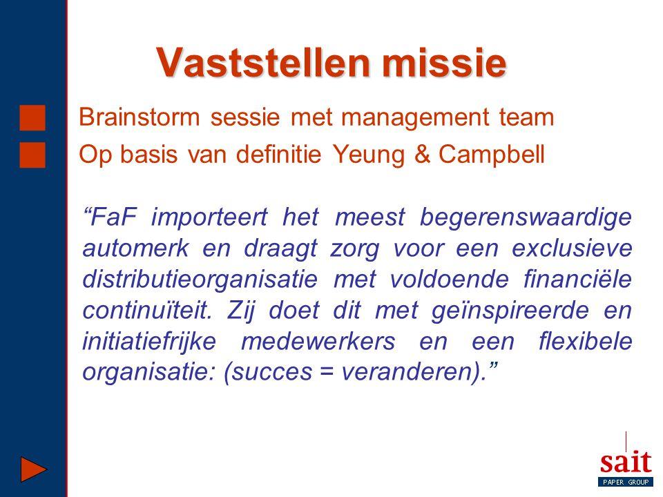 """Vaststellen missie  Brainstorm sessie met management team  Op basis van definitie Yeung & Campbell """"FaF importeert het meest begerenswaardige autome"""