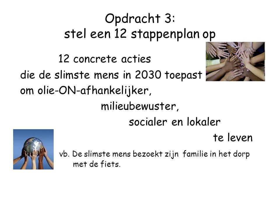Opdracht 3: stel een 12 stappenplan op 12 concrete acties die de slimste mens in 2030 toepast om olie-ON-afhankelijker, milieubewuster, socialer en lokaler te leven vb.