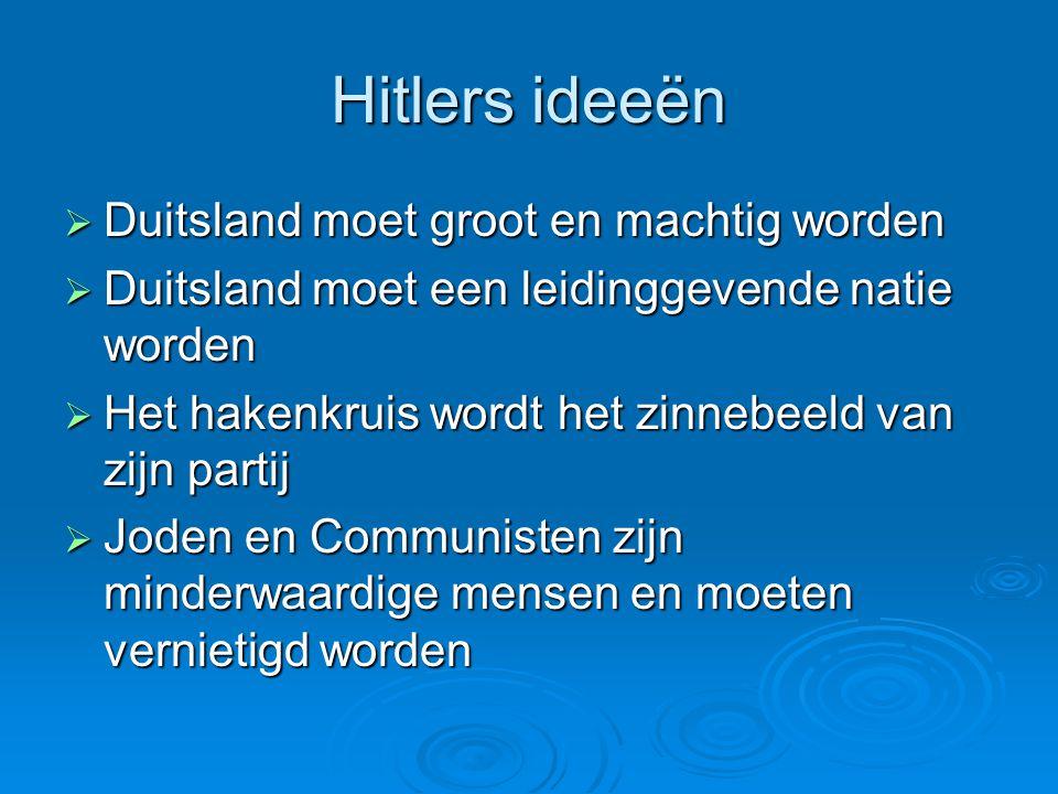 Hitlers ideeën  Duitsland moet groot en machtig worden  Duitsland moet een leidinggevende natie worden  Het hakenkruis wordt het zinnebeeld van zij