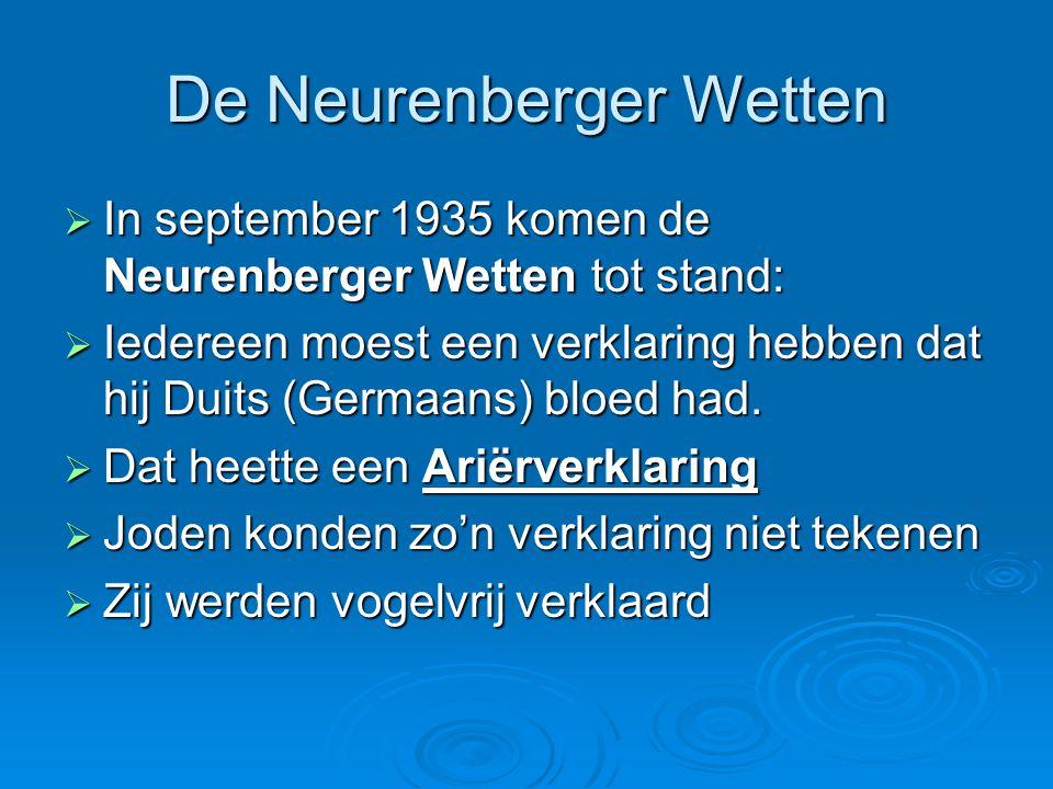 De Neurenberger Wetten  In september 1935 komen de Neurenberger Wetten tot stand:  Iedereen moest een verklaring hebben dat hij Duits (Germaans) blo