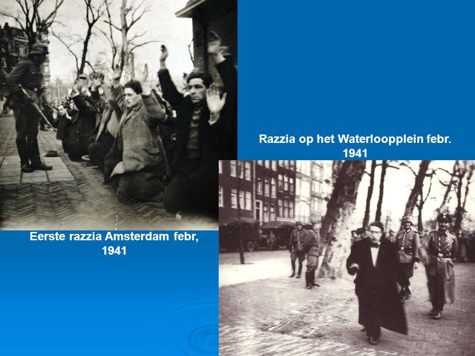 Eerste razzia Amsterdam febr, 1941 Razzia op het Waterloopplein febr. 1941