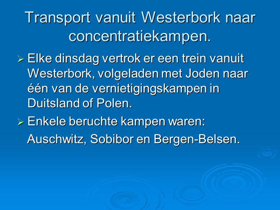 Transport vanuit Westerbork naar concentratiekampen.  Elke dinsdag vertrok er een trein vanuit Westerbork, volgeladen met Joden naar één van de verni