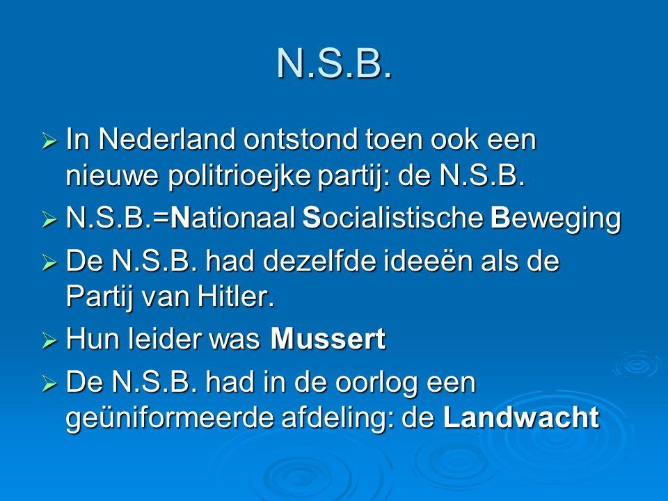 N.S.B.  In Nederland ontstond toen ook een nieuwe politrioejke partij: de N.S.B.  N.S.B.=Nationaal Socialistische Beweging  De N.S.B. had dezelfde