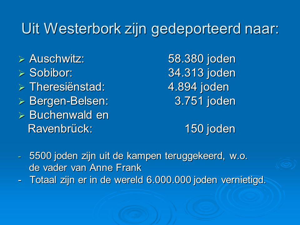 Uit Westerbork zijn gedeporteerd naar:  Auschwitz:58.380 joden  Sobibor:34.313 joden  Theresiënstad: 4.894 joden  Bergen-Belsen: 3.751 joden  Buc