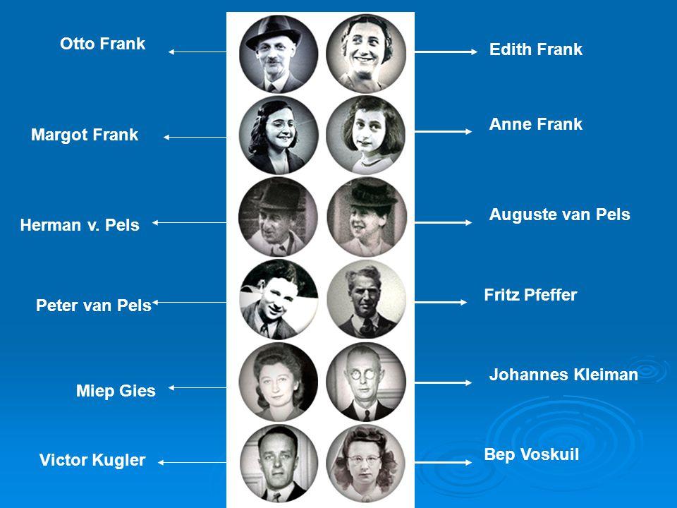 Edith Frank Anne Frank Auguste van Pels Fritz Pfeffer Johannes Kleiman Bep Voskuil Otto Frank Margot Frank Herman v. Pels Peter van Pels Miep Gies Vic