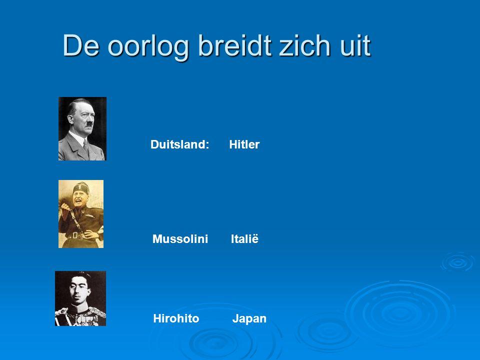 De oorlog breidt zich uit Duitsland: Hitler Mussolini Italië Hirohito Japan