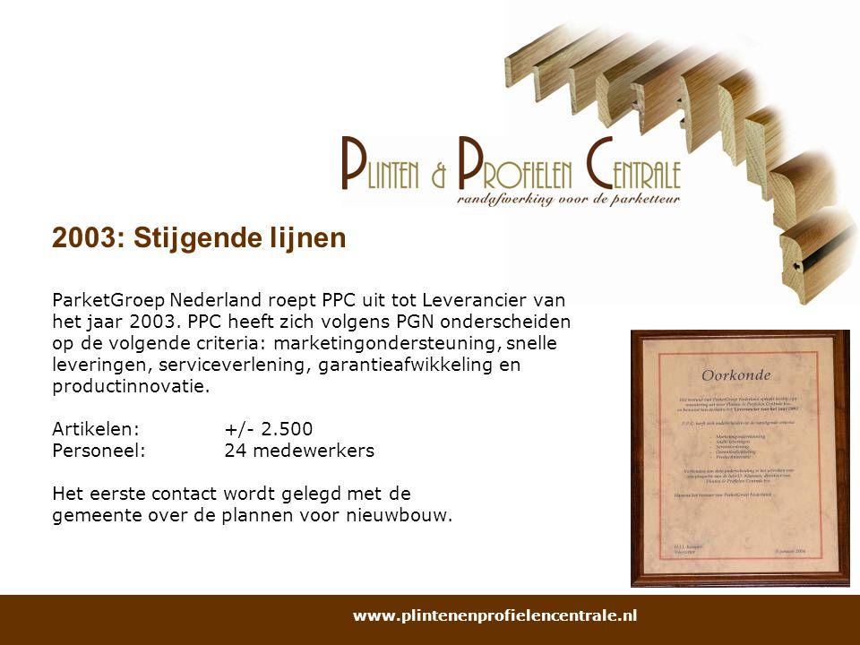 2003: Stijgende lijnen ParketGroep Nederland roept PPC uit tot Leverancier van het jaar 2003. PPC heeft zich volgens PGN onderscheiden op de volgende