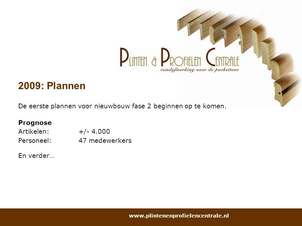 2009: Plannen De eerste plannen voor nieuwbouw fase 2 beginnen op te komen. Prognose Artikelen:+/- 4.000 Personeel:47 medewerkers En verder… www.plint