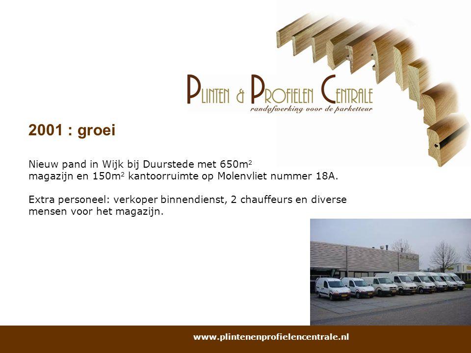 2001 : groei Nieuw pand in Wijk bij Duurstede met 650m 2 magazijn en 150m 2 kantoorruimte op Molenvliet nummer 18A. Extra personeel: verkoper binnendi