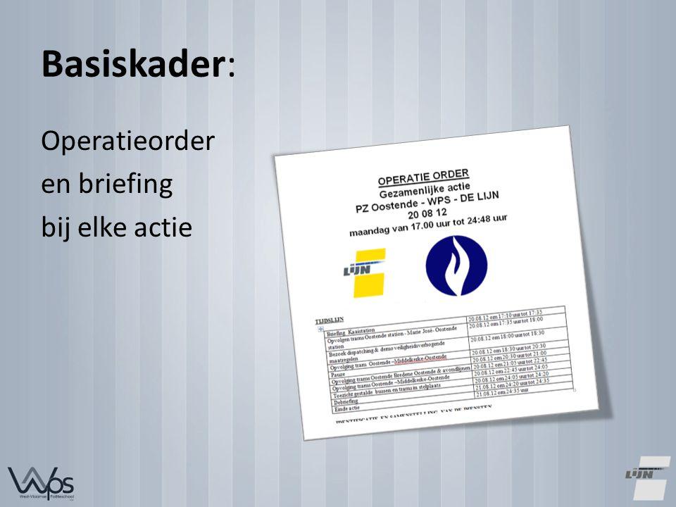 Basiskader: Operatieorder en briefing bij elke actie