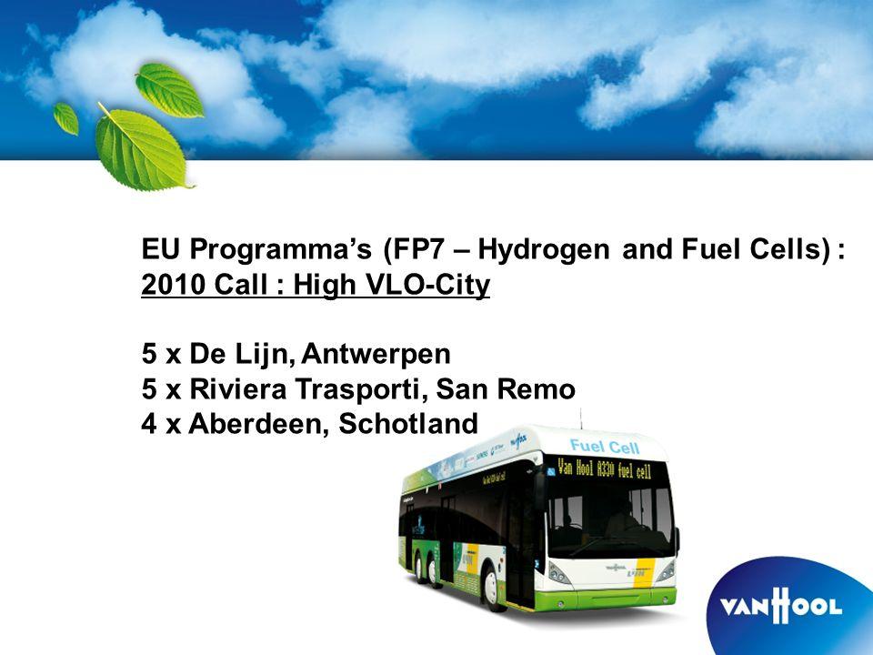 EU Programma's (FP7 – Hydrogen and Fuel Cells) : 2010 Call : High VLO-City 5 x De Lijn, Antwerpen 5 x Riviera Trasporti, San Remo 4 x Aberdeen, Schotland