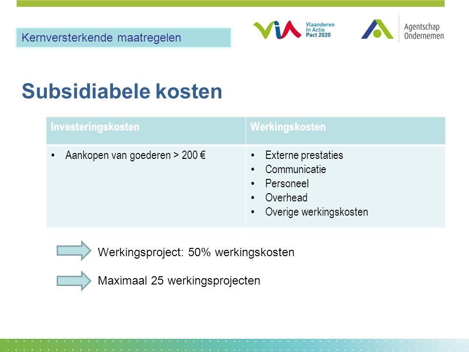Subsidiabele kosten InvesteringskostenWerkingskosten Aankopen van goederen > 200 € Externe prestaties Communicatie Personeel Overhead Overige werkings
