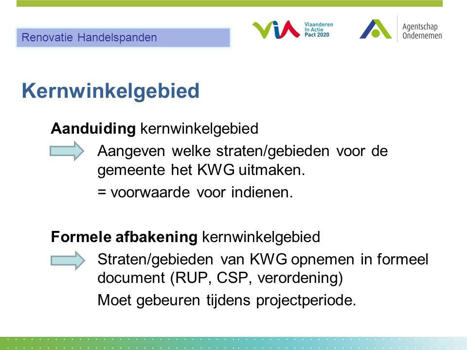 Kernwinkelgebied Aanduiding kernwinkelgebied Aangeven welke straten/gebieden voor de gemeente het KWG uitmaken. = voorwaarde voor indienen. Formele af