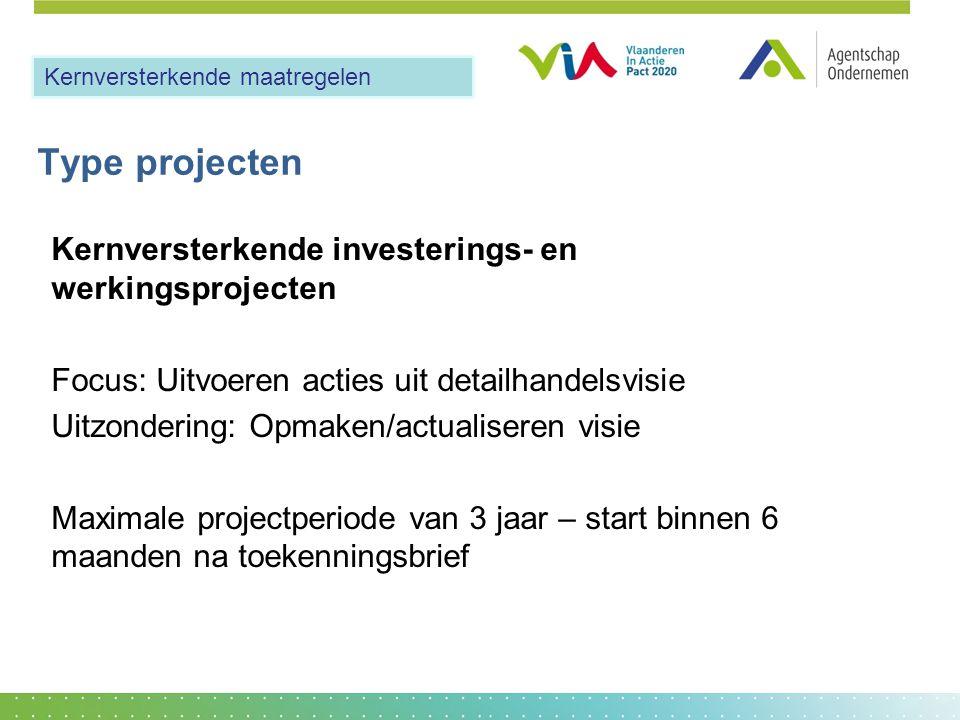 Type projecten Kernversterkende investerings- en werkingsprojecten Focus: Uitvoeren acties uit detailhandelsvisie Uitzondering: Opmaken/actualiseren v