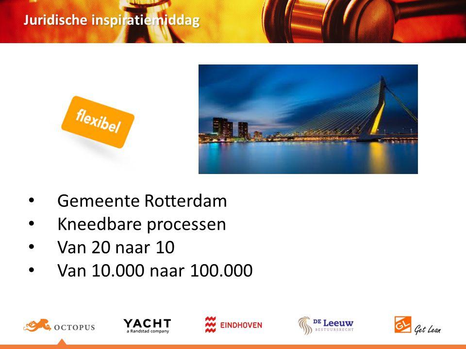 Juridische inspiratiemiddag Gemeente Rotterdam Kneedbare processen Van 20 naar 10 Van 10.000 naar 100.000