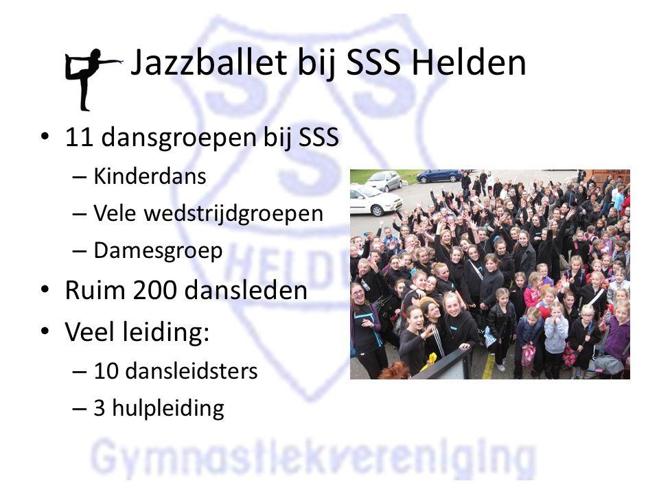 Jazzballet bij SSS Helden 11 dansgroepen bij SSS – Kinderdans – Vele wedstrijdgroepen – Damesgroep Ruim 200 dansleden Veel leiding: – 10 dansleidsters – 3 hulpleiding