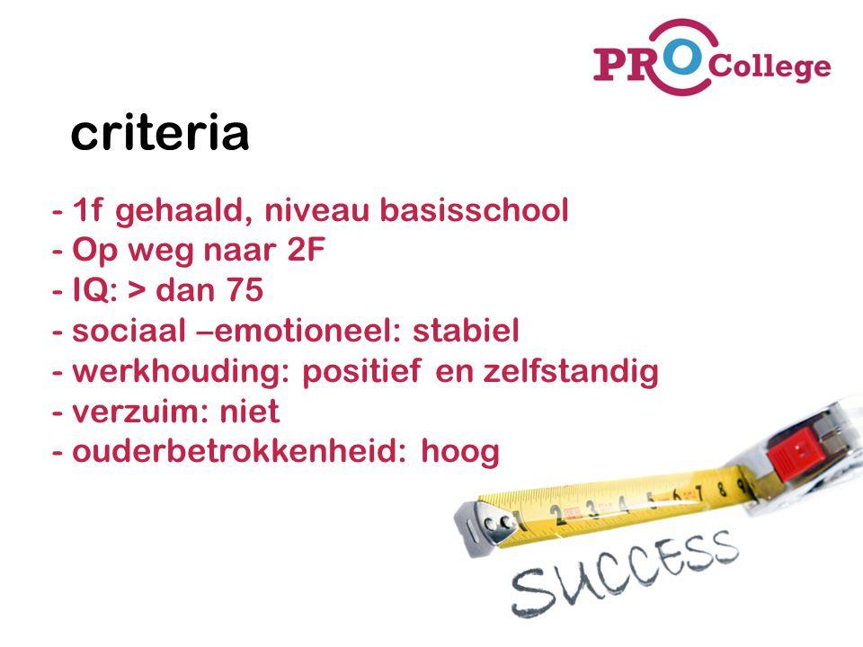 criteria - 1f gehaald, niveau basisschool - Op weg naar 2F - IQ: > dan 75 - sociaal –emotioneel: stabiel - werkhouding: positief en zelfstandig - verz