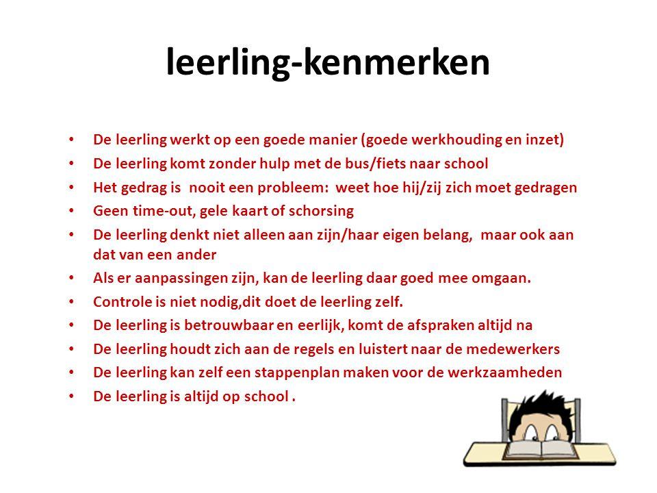 leerling-kenmerken De leerling werkt op een goede manier (goede werkhouding en inzet) De leerling komt zonder hulp met de bus/fiets naar school Het ge