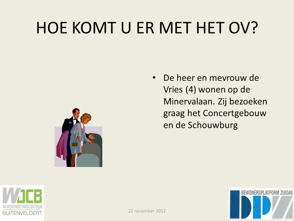 HOE KOMT U ER MET HET OV. De heer en mevrouw de Vries (4) wonen op de Minervalaan.
