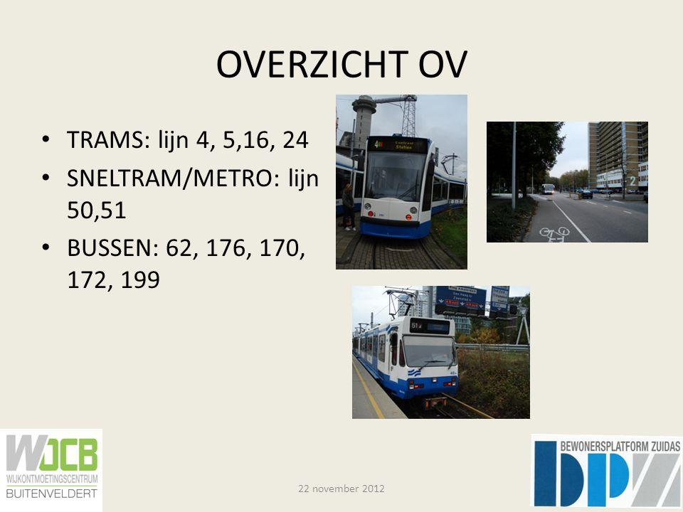 OVERZICHT OV TRAMS: lijn 4, 5,16, 24 SNELTRAM/METRO: lijn 50,51 BUSSEN: 62, 176, 170, 172, 199 22 november 2012
