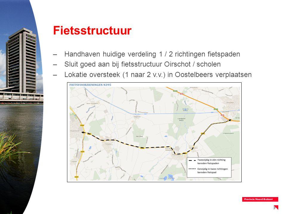 Fietsstructuur –Handhaven huidige verdeling 1 / 2 richtingen fietspaden –Sluit goed aan bij fietsstructuur Oirschot / scholen –Lokatie oversteek (1 na