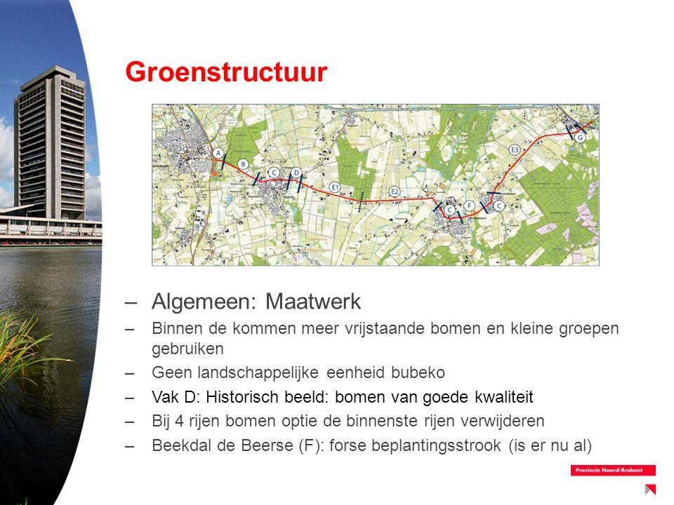 Groenstructuur –Algemeen: Maatwerk –Binnen de kommen meer vrijstaande bomen en kleine groepen gebruiken –Geen landschappelijke eenheid bubeko –Vak D: