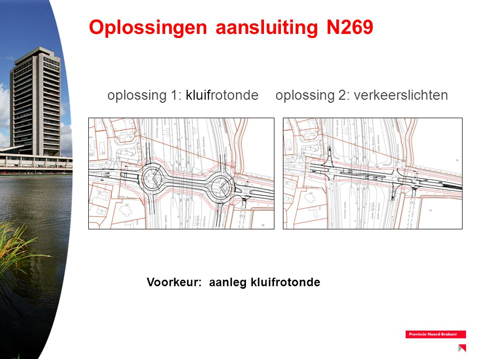Oplossingen aansluiting N269 oplossing 1: kluifrotondeoplossing 2: verkeerslichten Voorkeur: aanleg kluifrotonde