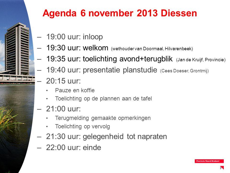 Agenda 6 november 2013 Diessen –19:00 uur: inloop –19:30 uur: welkom (wethouder van Doormaal, Hilvarenbeek) –19:35 uur: toelichting avond+terugblik (J
