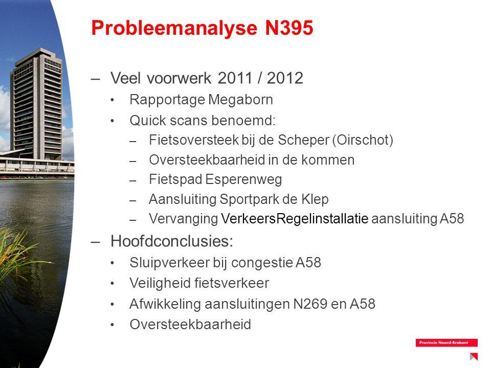 Probleemanalyse N395 –Veel voorwerk 2011 / 2012 Rapportage Megaborn Quick scans benoemd: – Fietsoversteek bij de Scheper (Oirschot) – Oversteekbaarhei
