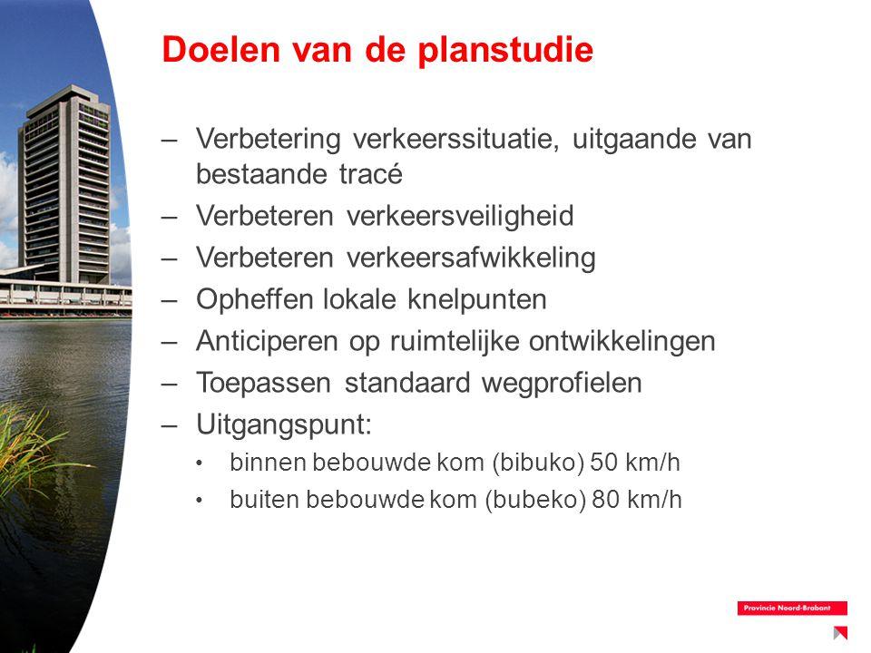 Doelen van de planstudie –Verbetering verkeerssituatie, uitgaande van bestaande tracé –Verbeteren verkeersveiligheid –Verbeteren verkeersafwikkeling –