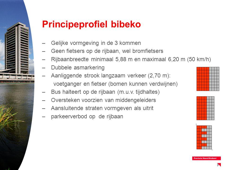 Principeprofiel bibeko –Gelijke vormgeving in de 3 kommen –Geen fietsers op de rijbaan, wel bromfietsers –Rijbaanbreedte minimaal 5,88 m en maximaal 6