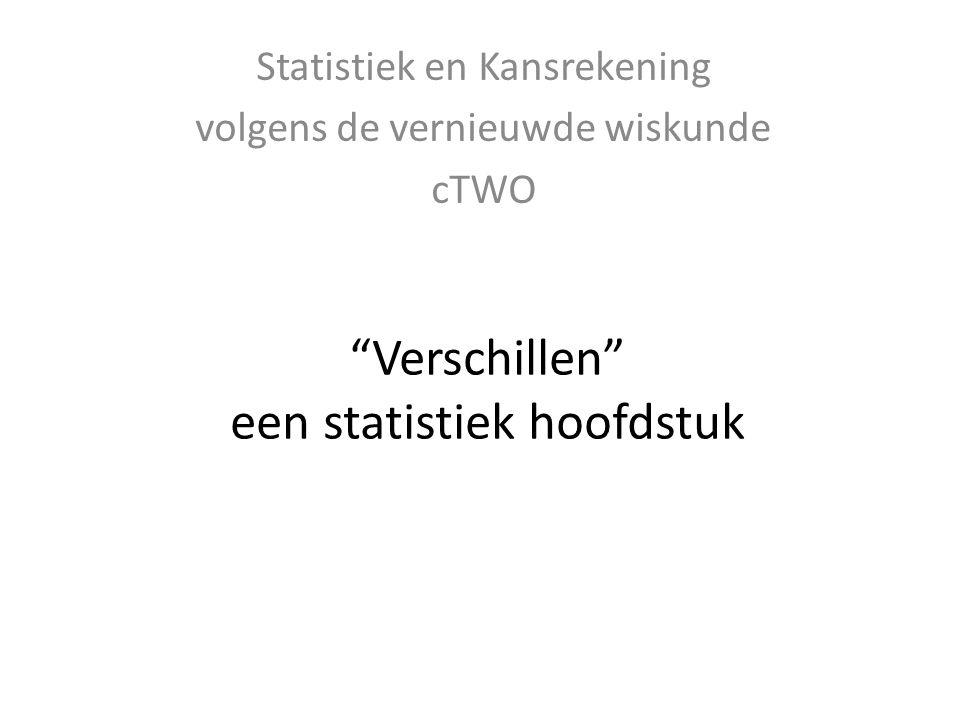 """""""Verschillen"""" een statistiek hoofdstuk Statistiek en Kansrekening volgens de vernieuwde wiskunde cTWO"""