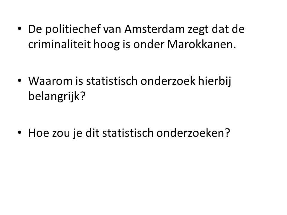 De politiechef van Amsterdam zegt dat de criminaliteit hoog is onder Marokkanen. Waarom is statistisch onderzoek hierbij belangrijk? Hoe zou je dit st