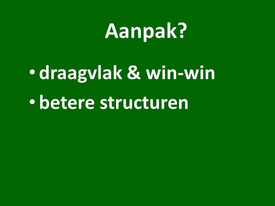 Aanpak draagvlak & win-win betere structuren