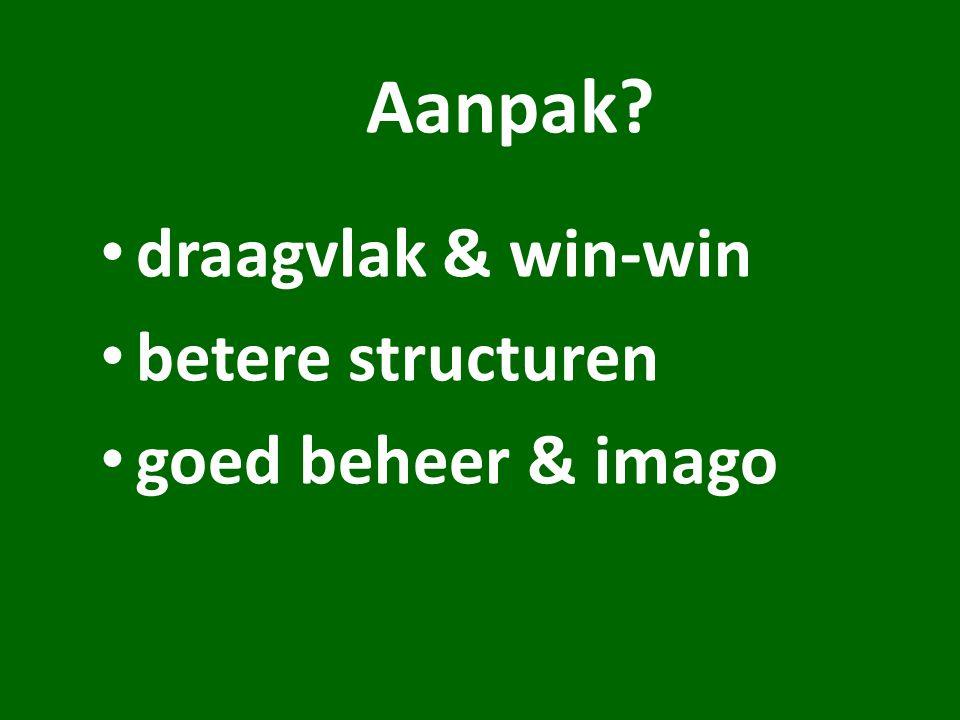 Aanpak draagvlak & win-win betere structuren goed beheer & imago