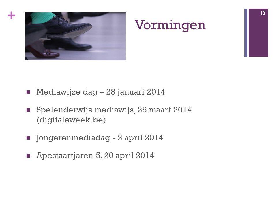 + Vormingen 17 Mediawijze dag – 28 januari 2014 Spelenderwijs mediawijs, 25 maart 2014 (digitaleweek.be) Jongerenmediadag - 2 april 2014 Apestaartjaren 5, 20 april 2014