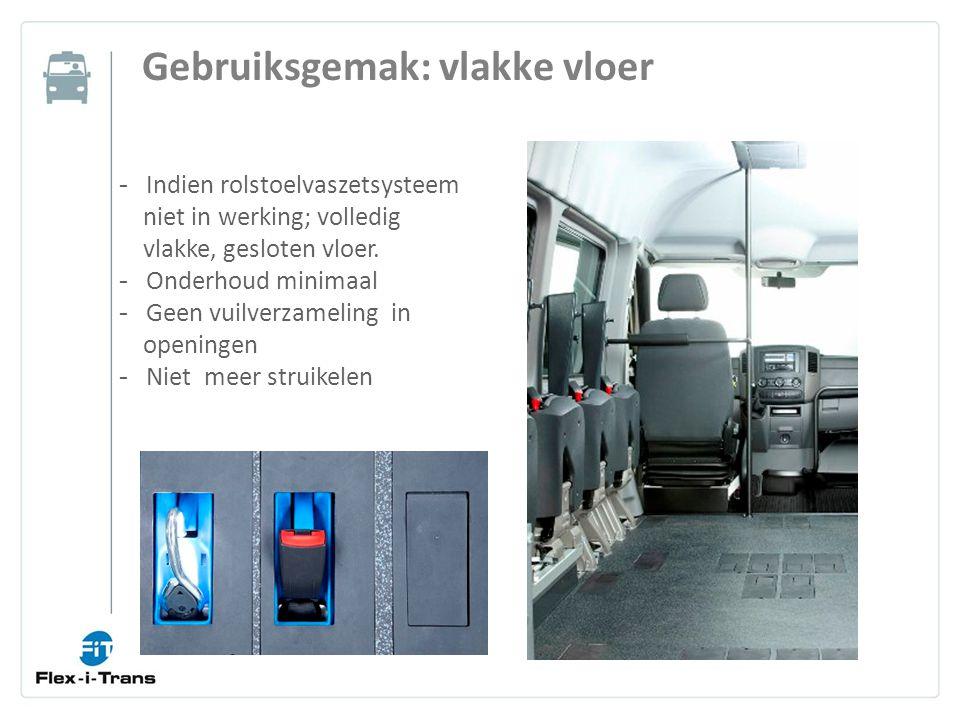 Gebruiksgemak: vlakke vloer - Indien rolstoelvaszetsysteem niet in werking; volledig vlakke, gesloten vloer.