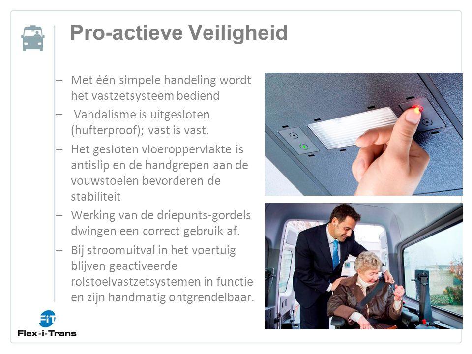 Pro-actieve Veiligheid –Met één simpele handeling wordt het vastzetsysteem bediend – Vandalisme is uitgesloten (hufterproof); vast is vast.