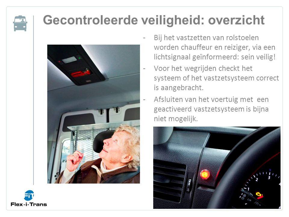 Gecontroleerde veiligheid: overzicht -Bij het vastzetten van rolstoelen worden chauffeur en reiziger, via een lichtsignaal geïnformeerd: sein veilig.