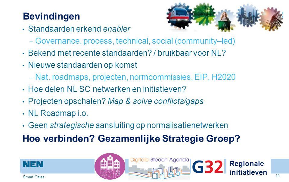 Bevindingen Standaarden erkend enabler – Governance, process, technical, social (community–led) Bekend met recente standaarden? / bruikbaar voor NL? N