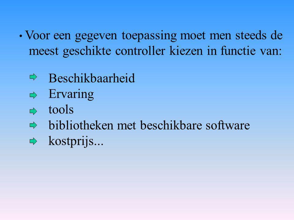 Voor een gegeven toepassing moet men steeds de meest geschikte controller kiezen in functie van: Beschikbaarheid Ervaring tools bibliotheken met beschikbare software kostprijs...
