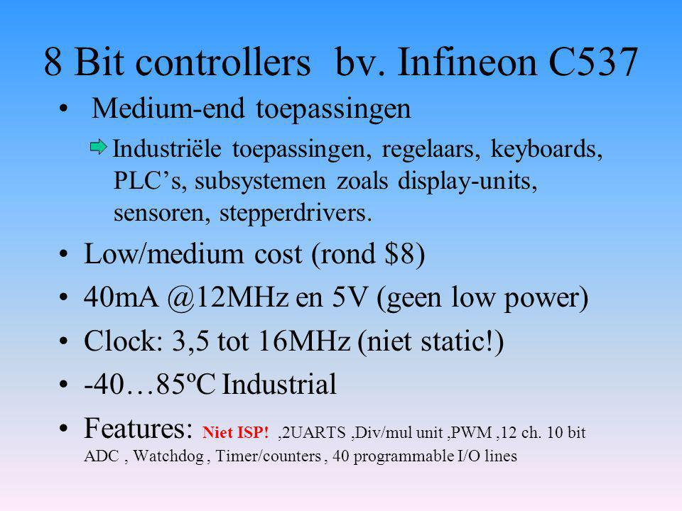 8 Bit controllers bv. Infineon C537 Medium-end toepassingen Industriële toepassingen, regelaars, keyboards, PLC's, subsystemen zoals display-units, se