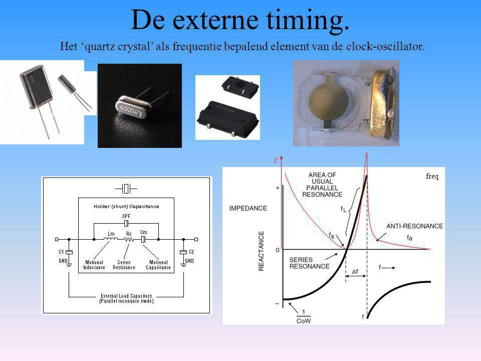 De externe timing.Het 'quartz crystal' als frequentie bepalend element van de clock-oscillator.