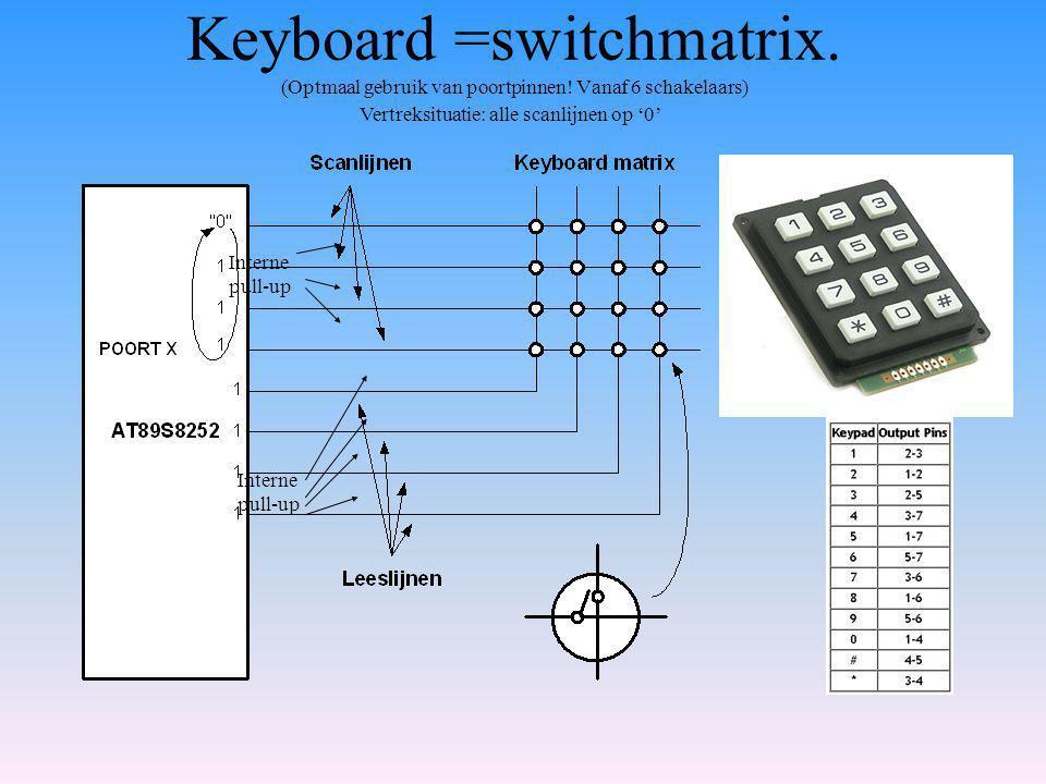 Keyboard =switchmatrix.(Optmaal gebruik van poortpinnen.
