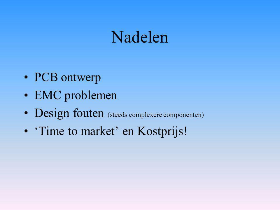 Nadelen PCB ontwerp EMC problemen Design fouten (steeds complexere componenten) 'Time to market' en Kostprijs!