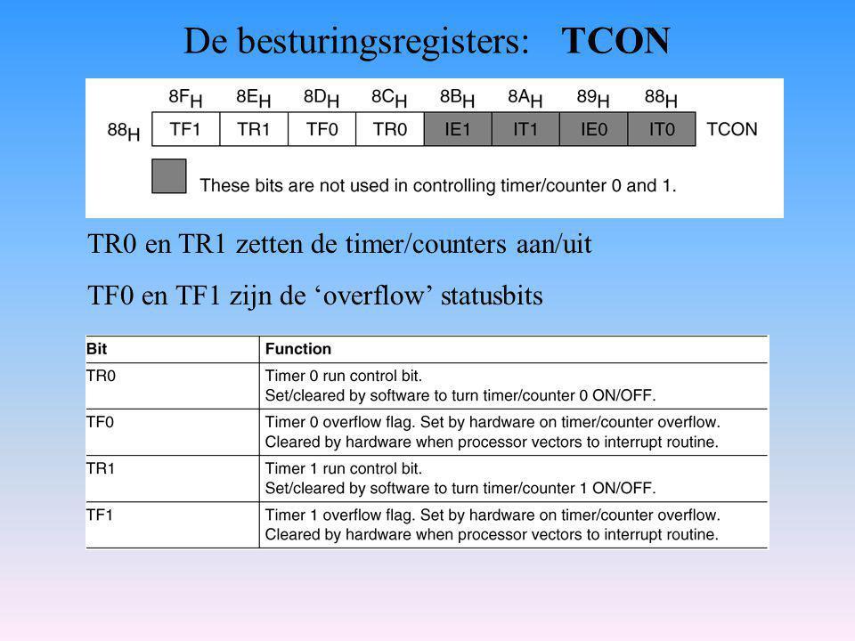 De besturingsregisters: TCON TR0 en TR1 zetten de timer/counters aan/uit TF0 en TF1 zijn de 'overflow' statusbits